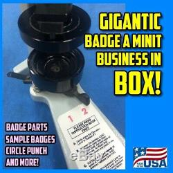 Complete Badge A Minit Matic Minute 2 1/4 button badge maker over $450 retail