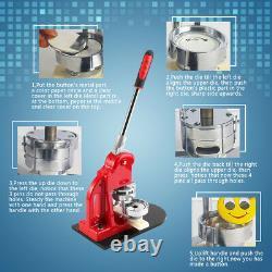 DIY Button Maker+Circle Cutter+1,000 Parts Badge Button Maker Making Machine USA