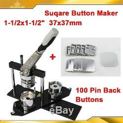 DIY Square 1-1/2x1-1/2(37x37mm) KIT! N4 Badge Button Maker Machine+100 Pin