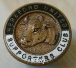 HEREFORD UNITED FC Vintage SUPPORTERS CLUB Badge Maker W. O LEWIS Button hole