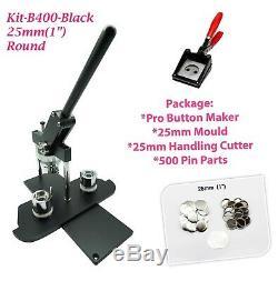 (KIT)25mm(1)BADGE MACHINE BUTTON MAKER-B400BLACK+MOULD+500PARTS+HANDLING CUTTER