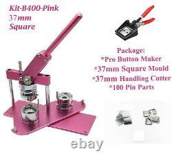 KIT 37x37mm Badge Machine Button Maker-B400 + Mold + 200 Pin + Handling Cutter