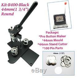 (KIT) 44mm(1 3/4) PRO BADGE MACHINE BUTTON MAKER-B400BLACK+ MOULD + 100 PARTS +
