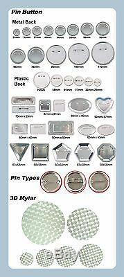 Pro N3 1-3/4 44mm Kit Badge Button Maker 100 Pin Badge Plastic Circle Cutter