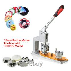 Rotated Button Maker Badge Punch Press Machine + 75mm Mold 300 Buttons Circle