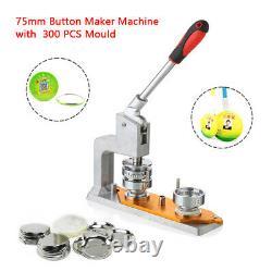 Rotated Button Maker Machine Badge Punch Press Machine&75mmMold 300DIY Buttons