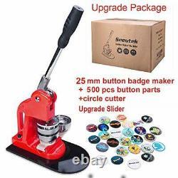 Seeutek Button Maker Machine Button Badge Maker 1 inch 25mm with 500 Pcs Butt