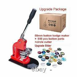 Seeutek Button Maker Machine Button Badge Maker 2-1/4 inch 58mm with 500 Pcs