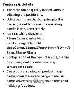 Sunshine 75mm Rotate Type Manual Badge Maker Badge & Button Machine OPEN BOX