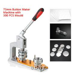 Universal Badge Machine Button Maker Machine with 75mm Mold & 300pcs Buttons NEW