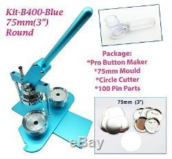 (kit)75mm(3)pro Badge Machine Button Maker B400+mould+100 Parts+circle Cutter