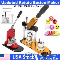 1 / 1,25 / 2,25 Badge Bouton Rotation Mise À Jour Maker Machine Poinçonneuse 100 Boutons