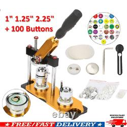 1 1.25 2.25 Button Maker Badge Machine Avec 100 Pièces De Boutons Cercle Réglées Tourner