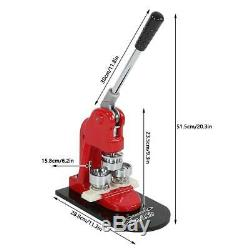 1 1,25 2,28 Bouton Pivotée Maker Badge Punch Machine De Presse + 1000 Boutons USA