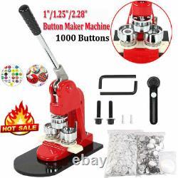 1/1.25/2.28 Button Maker Machine Avec 1000 Boutons Circle Badge Punch Press P