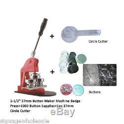 1-1 / 2 37mm Button Maker Machine + 1000 Fournitures De Badges + 1pc 37mm Circle Cutter
