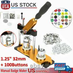1.25 32mm Rotate Button Machine Manuel Badge Maker Avec 100 Boutons Pour Diy