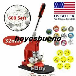 1,25 '' Bouton Badge Maker Machine De Fabrication Kit + 600pc Bouton Pin Libre Cutter Cercle