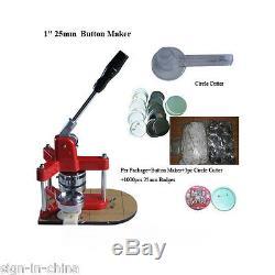 1 25mm Machine Bouton Triangle Badge Presse Maker + 1000pcs Bouton + Cutter Cercle