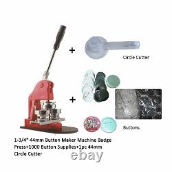 1-3/4 44mm Boutonnerie Machine Badge Presse + Bouton Fournitures + Cutter Cercle