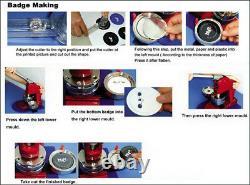 1.45'' Button Badge Maker Machine Badge Making Kit Tool+1000 Button Supplies