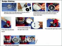 1,45 Pouces Bouton Maker Machine Badge Faire Supplies Bouton D'outil Kit +