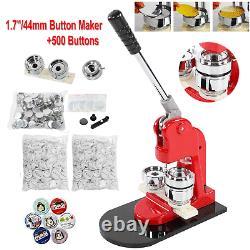 1.7/44mm Bouton Maker Badge Punch Machine 500 Bouton Sets Mould