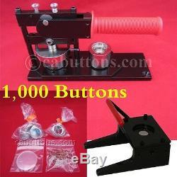 1 Pouce Tecre Pin Bouton Badge Maker + Machine + Graphique Punch 1000 Boutons Pièces