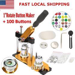 1'' Rotate Button Maker Machine Manual Badge Maker Aluminium Alliage 100 Boutons
