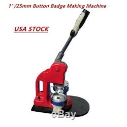 25 MM Bouton Badge Bouton Making Maker Manuel De Bricolage Ronde Badge Poinçonneuse USA