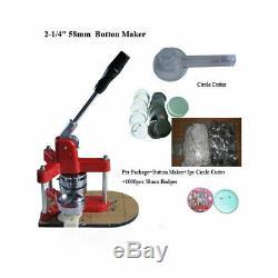 2-1 / 4 58mm Bouton Badge Presse Maker + 1000pcs Fournitures Bouton + 58mm Cutter Cercle