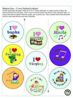 2-1 / 4 Fabricant De Bouton Kit D'école 2,25 Pin Machine Badge + 500 Pièces + Illustration Scolaire