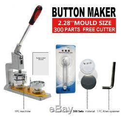 2.28 ' ' Bouton Badge Maker Machine De Presse De Bricolage Moule Die 300 Fournit Des Pièces