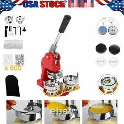 2.3 Button Maker Punch Machine À Presse Bricolage Round Pin Maker Kit Avec 500 Pièces D'insigne