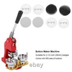 2.3in Button Maker Machine Bricolage Badge Punch Presse Outils Durables 500 Pièces Badges