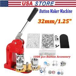 32mm/1.25 Machine De Fabrication De Boutons Bricolage Ronde De La Machine D'insigne Avec 1000x Kit De Boutons
