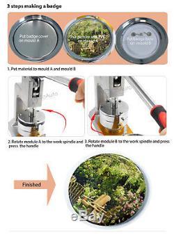 3 '' 75mm Machine Button Maker Badge Poinçonneuse 200 Pcs Interchangeable Mold / H