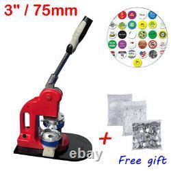 3 (75mm) Machine De Bricolage Ronde De Bouton D'épingle + 100 Bouton D'approvisionnement Cadeau Gratuit