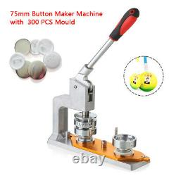 3' Badge Punch Press Bouton Machine De Fabrication D'épingles + 300 Broches Rondes Moules De Bouton Us Shi