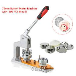 3'' Badge Punch Press Button Pin Maker Machine +300 Pin Round Button Molds