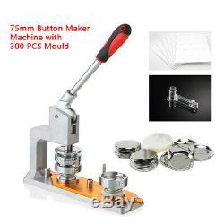 3 Bouton 75mm Maker Machine Badge Maker Punch Presse Avec 300 Boutons De Bricolage