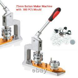 3'' Button Maker Badge Punch Press Machine & 75mm Mold 300 Pcs Button Kits