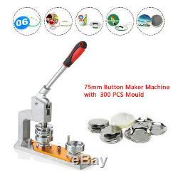 3 '' Ecusson Punch Appuyez Sur Le Bouton Pin Maker Machine +300 Pin Bouton Rond Moisissures