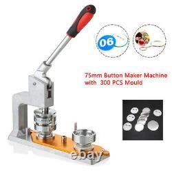 3'' Machine D'insigne Boutonnier 75mm Mould+ 300 Sets Bouton Circle Punch Appuyez Sur Us