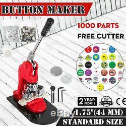 44mm (1,73) Bouton Badge Presse Maker 1000 Pcs Machine Boutons Libre Ergonomie