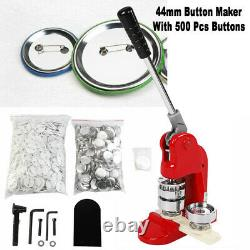 44mm/1.75inch Button Maker Punch Press Machine Die Mould 500 Pin Badge Parts New