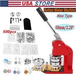 58mm/2.28 Bouton De Fabrication De Machine Bricolage Badge Presse Ronde Pin Maker Avec 500pc Bouton