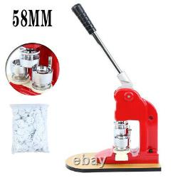 58mm Badge Button Maker Making Machine + 500 Die Mold Punch Press Circle Cutter