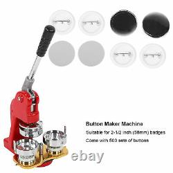 58mm Bricolage Badge Bouton Maker Machine Ronde Pin Insignes Outil & 500pcs Boutons Kit