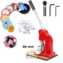 58mm Button Maker Punch Press Machine Die Mould 500 Badge Pièces Outil Rouge